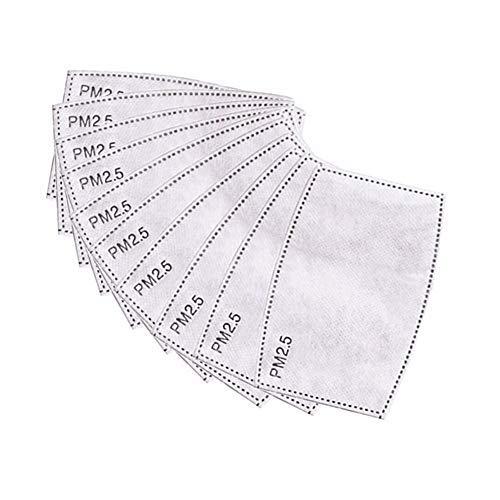 Lifreer 100 Stück PM2.5 Aktivkohlefilter Schutzfilter 5 Schichten austauschbar Anti-Dunstfilter Schutzmundfilter für den Außenbereich (12,4 x 8 cm)