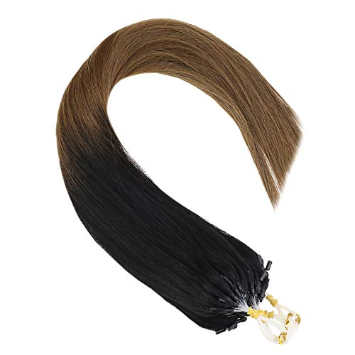 Ombre Micro Ring Loop Hair Extensions,24inch Natural Black to Brown Remy Straight Micro Ring Cold Fusion Human Hair...