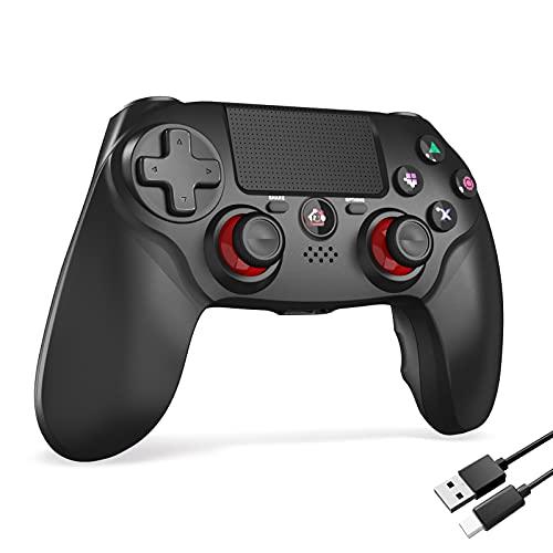 PS4コントローラー 600mAh FPS改良 Bluetooth5.0 HD振動 ゲームパット搭載 高耐久ボタン イヤホンジャック スピーカー PS4 コントローラー (Mimall ブラック)