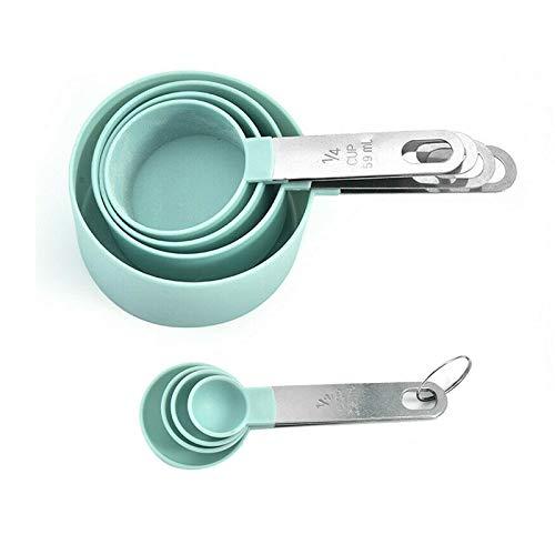 LTHTX Copa de medición de Acero Inoxidable de 8 Piezas y Cuchara SetGreat Herramientas de Cocina para cocinar y Hornear - lavavajillas Seguro (Blue)