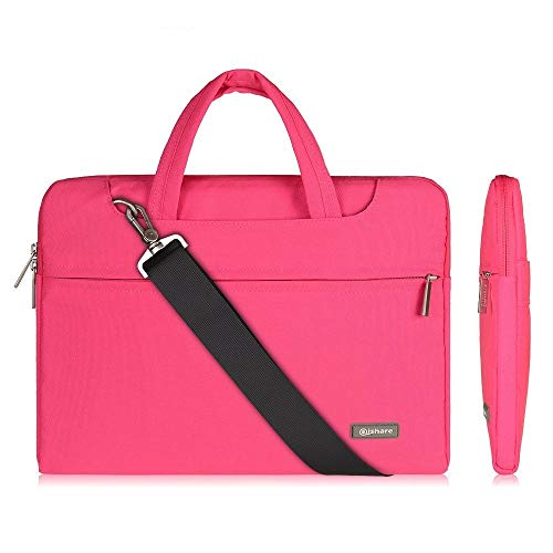 Qishare 11.6 12 inch Laptop Case Laptop Shoulder Bag, Multi-functional Notebook Sleeve Carrying Case With Strap for Notebook Microsoft Surface Pro 6/5/4/3 Macbook Air 11 12(Pink)