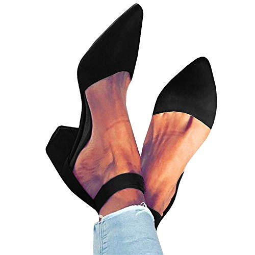 FISACE Womens Low Mid Square Heel Ankle Strap Sandal Office Ladies Pointed Toe Pumps Shoes