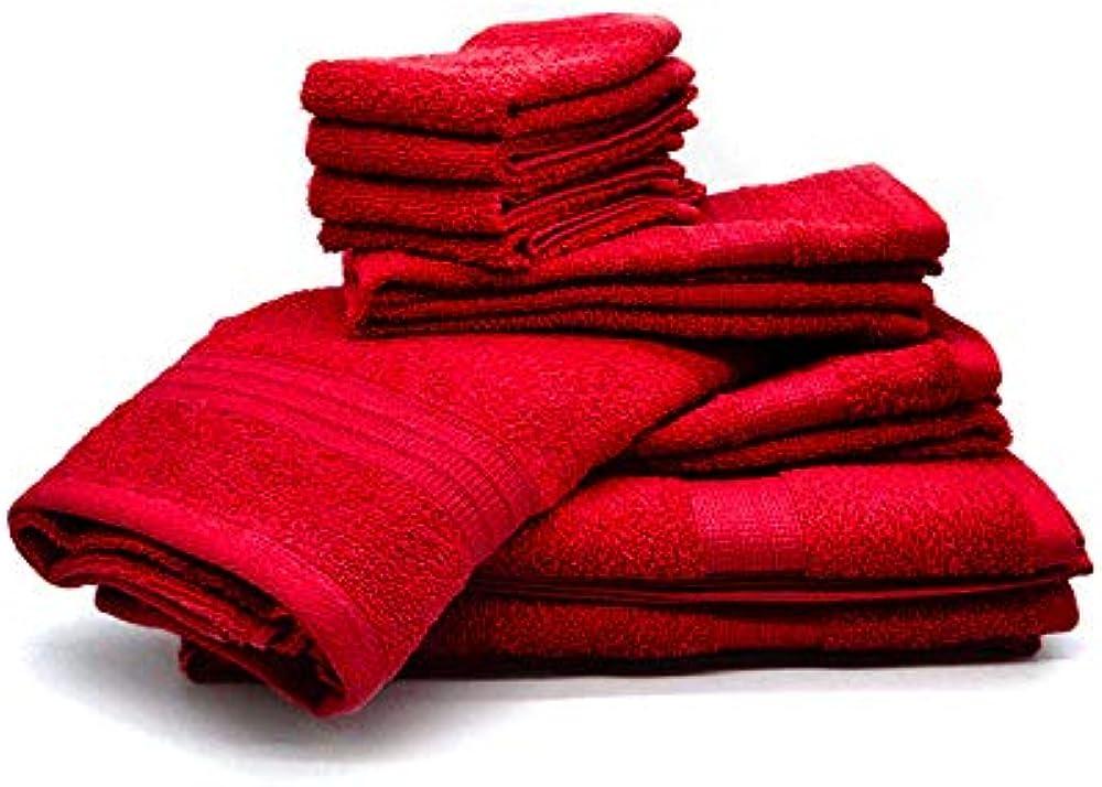 Bassetti, set 10 asciugamani in spugna di  cotone 100%,vari colori