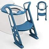 Fascol Asiento Aseo Escalera para Niños de 1a 8 Años, Ajustable con Pasos, Asiento de Inodoro de WC Antideslizante, con Cojín de Esponja, Carga Máxima 75 kg, Azul