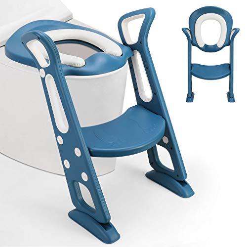 Fascol Riduttore WC per Bambini, Riduttore WC Pieghevole con Scaletta, Vasino Sedile Regolabile in Altezza per Bambini da 1 a 8 Anni, Blu