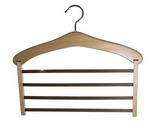 Hagspiel - Gruccia per pantaloni in legno, per 4 pantaloni in legno di faggio laccato naturale