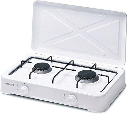 Bastilipo CG-200 Cocina de gas Butano o Propano, 3.15 W, Estructura de Acero con Doble Capa de Esmalte, Blanco