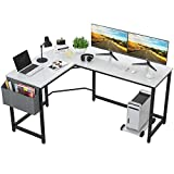 Foxemart L Shaped Desk Corner Desk 58' Computer Gaming Desk PC Table Writing Workstation for Home Office, Large L Study Desk 2 Person Multi-Usage Tables Modern Simple Desk with Storage Bag & CPU Stand