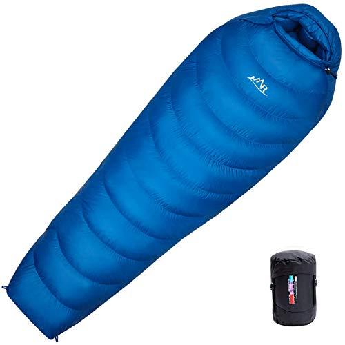 LMR高級ダウン寝袋 マミー型 シュラフ スリーピング登山 アウトドア 防災用 避難用 [ダウン1500g 最低使用温度-25度] (ネイビー)