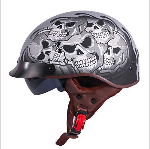 GAOZHE Casco Moto Abierto Retro,Adultos Retro Casco Moto,Vintage Classic Abierto Cascos Half-Helmet,con Ultraligero Alta Dureza,con Visera,Forro Extraíble,para Mujer y Hombre Street Bike Cruiser