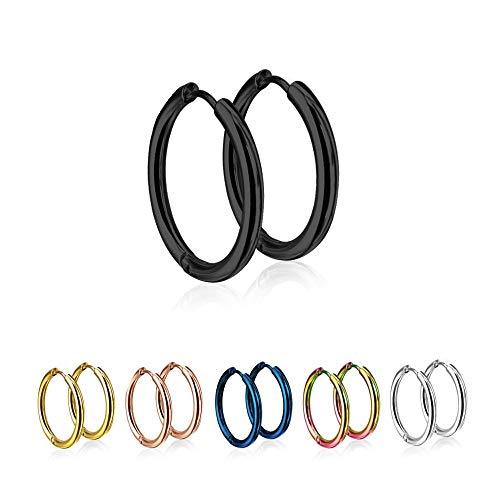 Treuheld®   Runde Creolen/Ohrringe aus medizinischem Edelstahl   14mm   Schwarz   Schmale Klappcreolen für Damen und Herren   Set/Paar