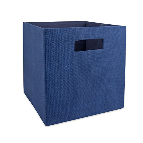 DII Hard Sided Collapsible Fabric Storage Container for Nursery, Offices, & Home Organization, (11x11x11) - Solid Nautical Blue
