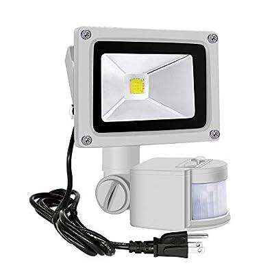 Motion Sensor Flood Lights Outdoor,10W Induction LED Lamp, IP65 Waterproof Spotlight,6500K LED Sensor Light,Security Light with US 3-Plug (Daylight White-Gray)