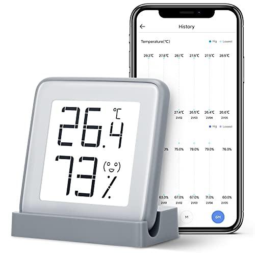 Azarton Thermometer Innen Digital Hygrometer mit E-ink Display und Smart APP Wireless Bluetooth Thermo-Hygrometer Zimmerthermometer für Baby Room Zimmer Hausgarage Gewächshaus Weinkeller