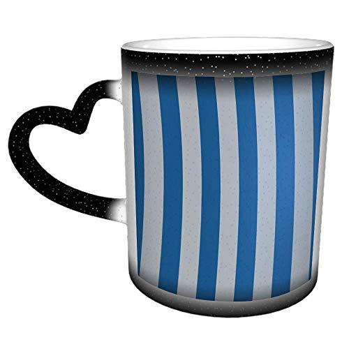 Taza de cerámica a rayas azules y blancas, regalo de té y café, regalo de Navidad, 11 oz