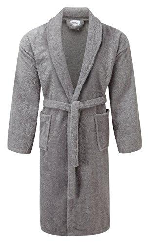 100% ägyptische Baumwolle Bademantel Frottee Bademantel Bademantel Luxuriös und Super Weich Damen Nachtwäsche Herren Haus Gewand grau
