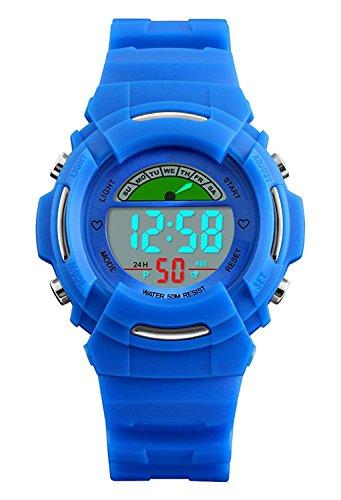 VDSOW - Orologi digitali per bambini, per sport all'aperto, impermeabile fino a 5 atm, con LED blu, con sveglia/luce EL/giornio della settimana, per ragazzi