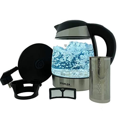 STEPLER LED-Glas-Wasserkocher 1,8 Liter (WKLG001) | Teekocher | Kalkfilter | Edelstahl | Borosilikatglas | LED-Beleuchtung - verschiedene Farben je nach Temperatur 60°C - 100°C | Warmhaltefunktion