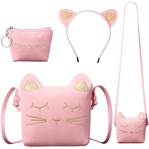 3 Piezas Bolsa de Hombro Monedero Diadema de Gato de Niñas, Bolsa de Mano Rosas de Gato con Mini Monedero y Diadema de Gato Rosa para Cumpleaños Niñas Día de Niños