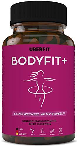 UberFit BODYFIT+ Natürlicher Stoffwechsel Komplex - Optimierte Rezeptur mit Grüner Kaffee, Guarana, Grüntee, Garcinia Cambogia, Weiße Kidneybohnen, Chlorella, Ginseng uvm - 120 Kapseln Vegan