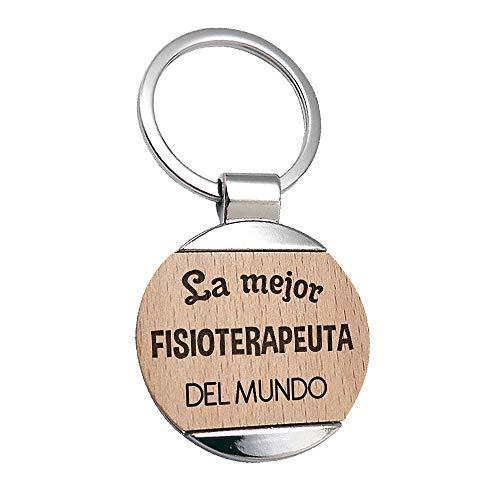 Llavero Fisioterapeuta La Mejor Fisioterapeuta del Mundo - Llavero de Metal Grabado en Madera - Regalo para Fisio Personalizado