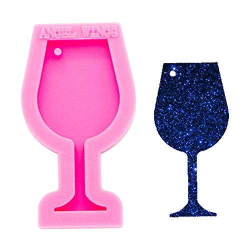 Mini Wine Glass Goblet Cup Keychain Silicone Mold with Hole for DIY Crystal Gum Paste Pudding Pendant Fondant Mold Trinket Cake Topper Decoration Luggage Tag Jelly Shots Desserts Candy Earrings