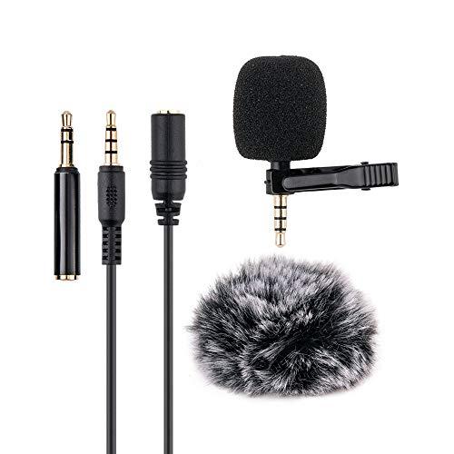 Micrófono con clip, micrófono de condensador de solapa de 3,5 mm, micrófono hipercardioide para smartphones, PC, computadora y cámara