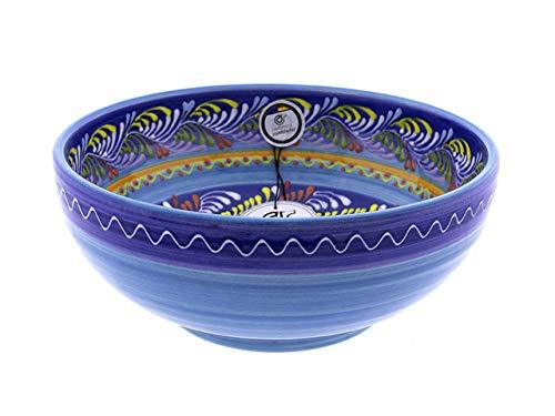CERÁMICA RAMBLEÑA   Ensaladera cerámica   Ensaladeras Originales   Ensaladeras decoración Azul - Modelo 14   Decoración 100% Hecho a Mano   23x23x9 cm