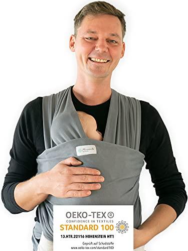 Tragetuch von Hebamme - Kindertragetuch - Babytragetuch - Baby Sling Carrier für Neugeborene bis 15 kg - Babytuch 5m lang - inklusive Aufbewahrungsbeutel & Bindeanleitung (Hellgrau)