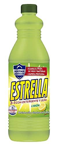 Estrella 2 en 1 Lejía con Detergente Limón, Desinfección y limpieza sin huella para el hogar - 1,35 litros
