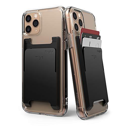 Ringke Slot Card Holder [Black] 2-Pack Handy Kartenhalter Kartenetui Kartenfach Kreditkartenetui für iPhone SE 2020, Galaxy S20, A51, Redmi Note 9 Pro, P40 Lite, OnePlus 8