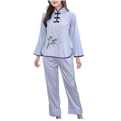 SZYB Women's Chinese Style Antique Silk Pajamas Long-Sleeved Suit Pajamas X1 Blue M