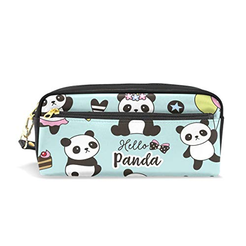 Cute Panda Unicorn Leather Student Pencil Case Pen Cosmetic Bag for Girls Makeup Pouch