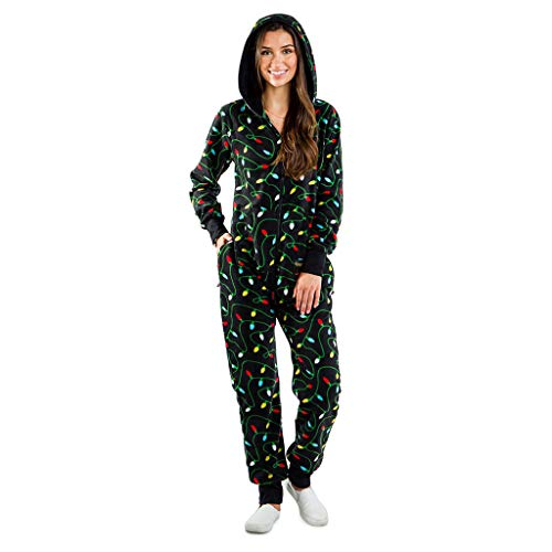 Pijama Completo de Mujer Tipo Mono con Impresos Navideños SUNNSEAN Pijama Mujer Invierno Calentito Suelto Monos Pantalones Largos con Capucha y Cremallera Bolsillos Pijamas Monos Jumpsuit de Navidad