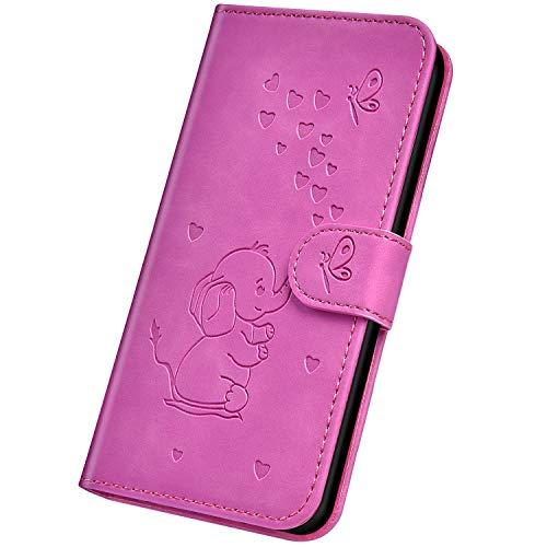 Surakey Cover per iPhone 6/6S,Custodia Flip PU Pelle per iPhone 6/6S Libro Portafoglio Wallet Case con Porta Carte,Goffratura Elefantino,Funzione Supporto,Antiurto TPU Bumper,Viola