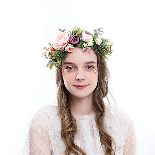Floral Crown, Bohemian Headpiece, Wedding Hair Wreath, Flower Headband Photo Prop for Women Girls (05wreath)