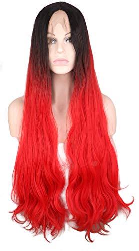 pruiken Pruik vrouwelijk lang krullend haar grote golf geverfd zwarte gradiënt rode pruik chemische vezel kap