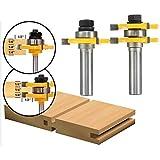 Nuokix Perforar la caña de lengüeta y ranura Router Bit Set 3 dientes en forma de T de madera Fresa 2pcs 1/2 pulgada accesorios del taladro Brocas industriales