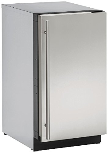 """U-Line U3018CLRS00B 18"""" Modular 3000 Series Clear Ice Machine With 60 lbs. Daily Ice Production 30 lbs. Ice Storage Reversible Door Hinge And Quiet Mode: Stainless"""