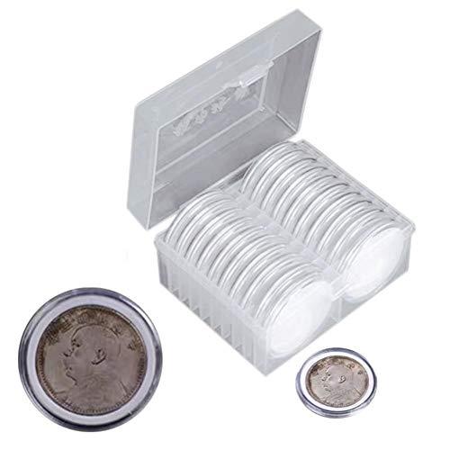 lingzhuo-shop Sammlermünzen Aufbewahrung, 7 Größen (16/20/25/27/30/38/46 Mm), 20 Stück 46 Mm Coin Storage Box Halter Und Schutzdichtung Mit Kunststoff-Aufbewahrungsbox Für Münzsammelbedarf