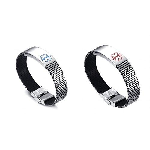F Fityle 2pcs Mens Women ID Bracelet Stainless Steel Wristband Silver