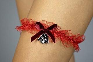 Giarrettiera di pizzo matrimonio sposa biancheria intima regali de nozze addio al nubilato Star Wars rosso red velvet