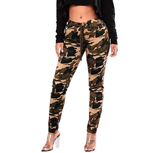 FRAUIT dames Camouflage dames joggingbroek met band | sportbroek gemêleerd | Baggy om te dansen | sweatpants - trainingsbroek midd taille pants