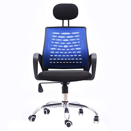 Ergonomic Office Chair, High Back Mesh Desk Chair, Adjustable Headrest and Lumbar Support, Computer Desk Task Chair (Color : Blue)