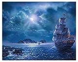 Escena De La Noche Del Mar 5D Diy Diamante Pintura Punto De Cruz Paisaje Rhinestone Mosaico Imagen Decoración Del Hogar Regalo 30X40Cm