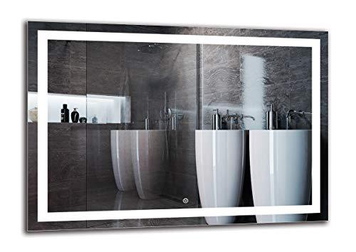 LED Spiegel Deluxe - Spiegelmaßen 100x70 cm - Touch Schalter - Berührungsschalter - Badspiegel - Wandspiegel Lichtspiegel - Fertig zum Aufhängen - ARTTOR M1ZD-47-100x70 - Lichtfarbe Weiß kalt 6500K