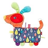 Fehn 055160 Knister-Hund COLOR Friends mit Schnullerring – Activity-Rascheltier mit Schnuller-Befestigung – Für Babys und Kleinkinder ab 0+ Monaten – Größe: 27 cm