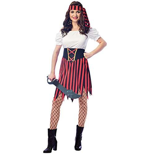 SP Funworld Frauen Piraten Kostüm Piraten Party Dress Up Kleid mit Schwert, Gürtel, Stirnband (40/42)