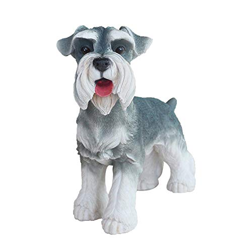 WMHF Estatua Resina Adornos Simulación Decoración para Perros Modelo De Schnauzer Animal Sala De Estar Armario para Vino Decoración para Gabinete De TV Decoración De Escritorio Manualidades
