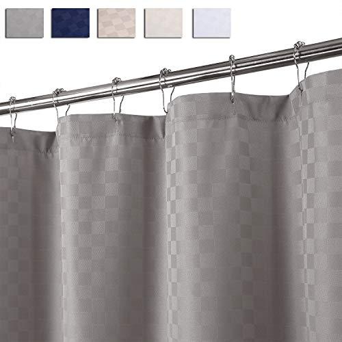 LinTimes Duschvorhang Überlänge, Hotel Luxury 190 GSM Thick Polyester Duschvorhang Shower Curtain, Grau, 180x240 cm (Verpackung MEHRWEG)